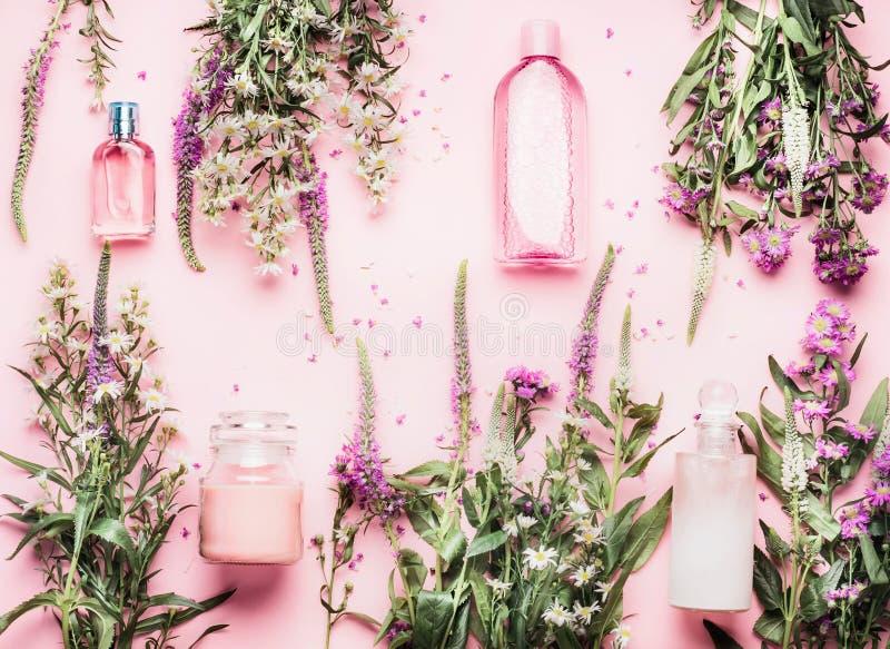 设置与各种各样的瓶的自然化妆产品和新鲜的草本和花在桃红色背景,顶视图,平的位置 免版税库存图片