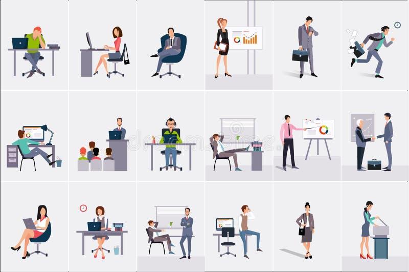 设置与商人和女实业家 年轻人和妇女工作场所的 完成他们的工作的商人 办公室 库存例证