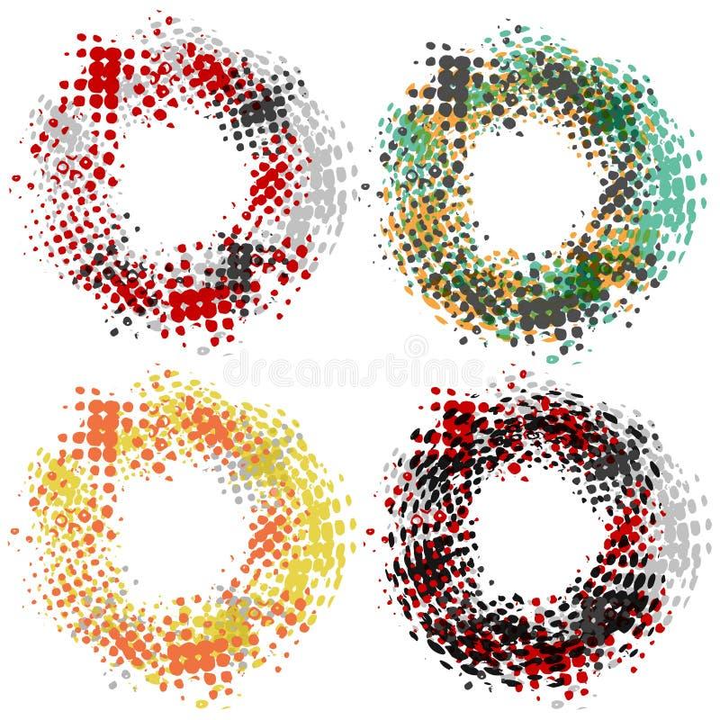 设置与四个圆的半音框架,脏的样式,现代设计元素 库存例证