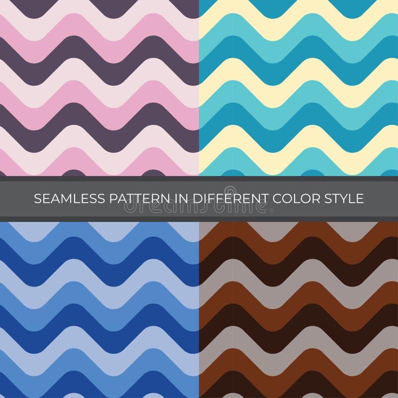 设置与四种颜色样式的摘要传染媒介无缝的样式 向量例证