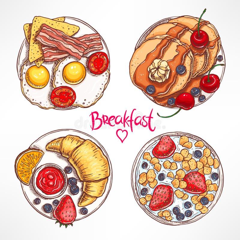 设置与四顿不同早餐 库存例证