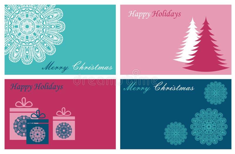 设置与圣诞快乐和新年快乐卡片 向量例证