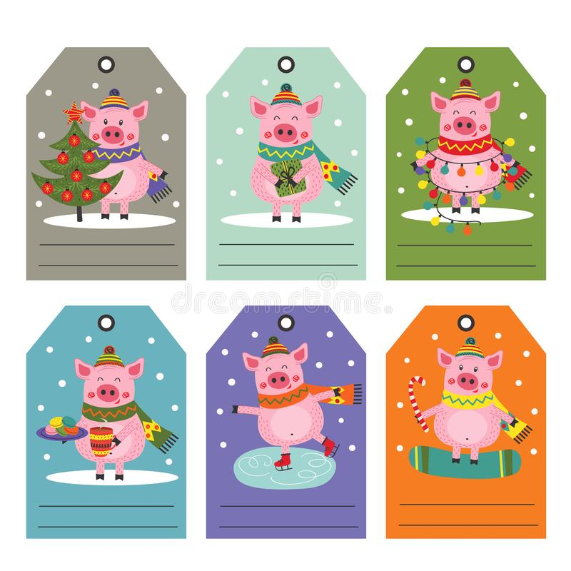 设置与圣诞节猪的标记 库存例证