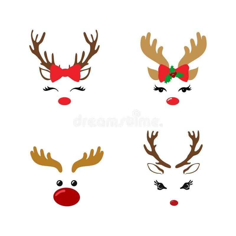 设置与圣诞装饰的一张逗人喜爱的驯鹿面孔 也corel凹道例证向量 背景查出的白色 向量例证