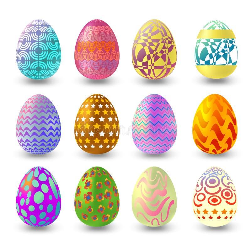设置与在与阴影的白色背景隔绝的另外样式的复活节彩蛋 向量例证