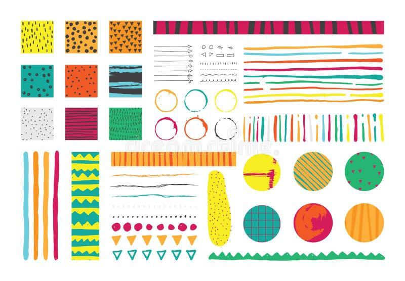 设置与在明亮的颜色的infographics元素,手拉以墨水和缺点 传染媒介汇集 向量例证