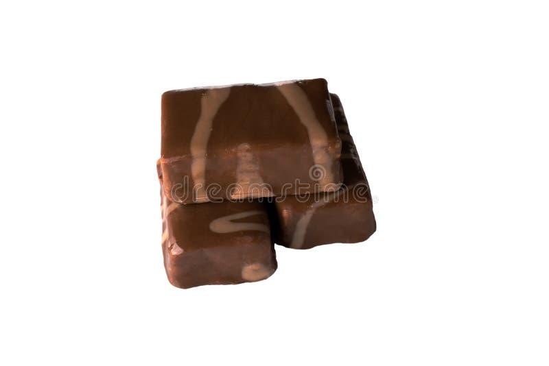 设置与在白色背景隔绝的坚果的巧克力糖 库存图片
