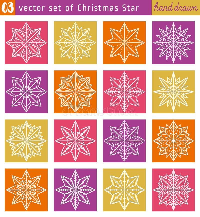 设置与在颜色背景的圣诞节星 向量例证