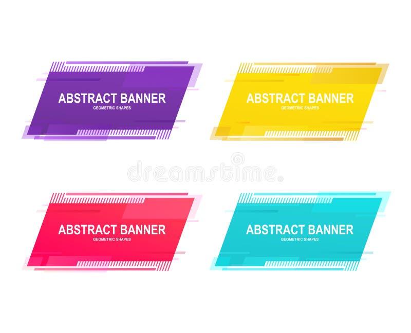 设置与地方的几何增进横幅贴纸文本的 平的抽象颜色形状 皇族释放例证