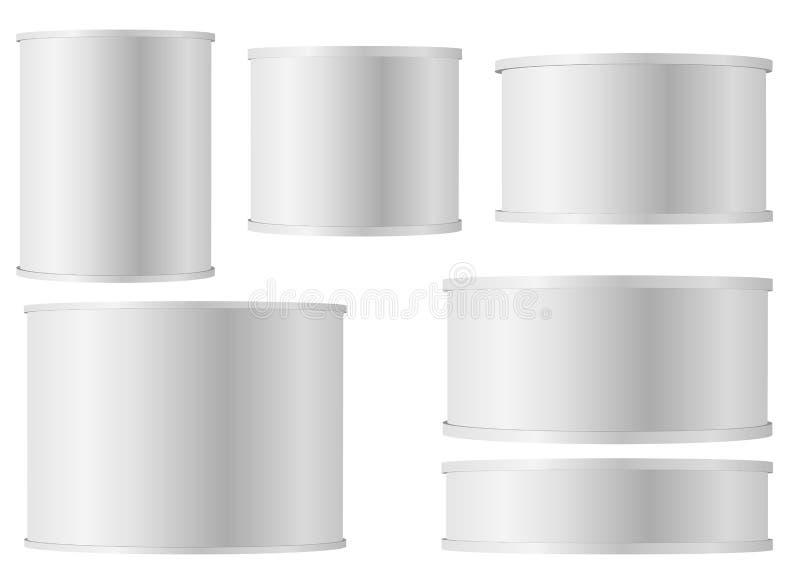 设置与塑料盖帽的白色锡罐婴儿吸湿粉牛奶、速溶咖啡,谷物的等 白色空白Tincan金属锡罐,装于罐中 向量例证