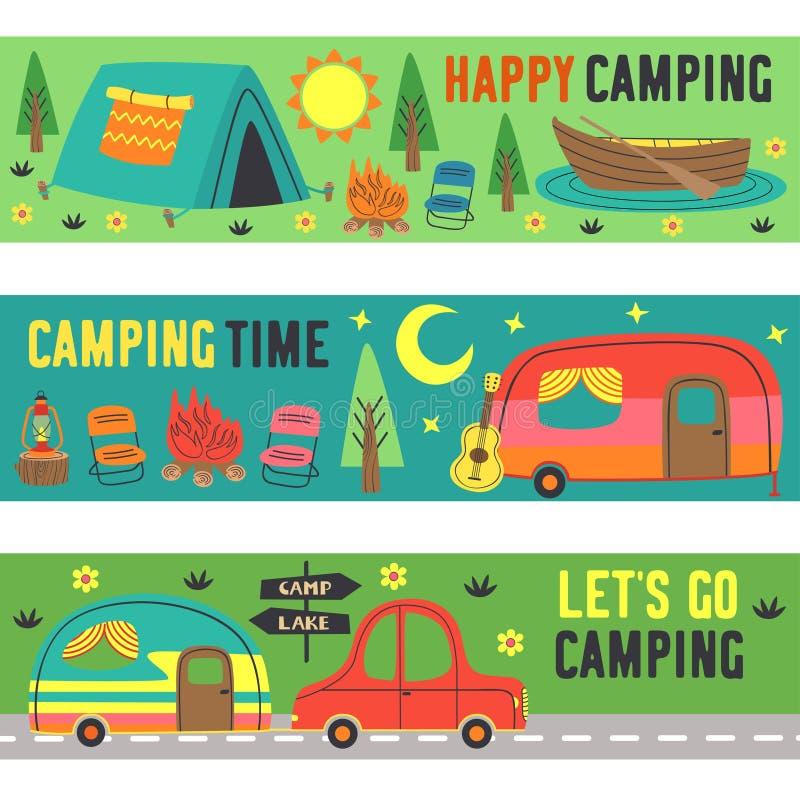 设置与夏天野营的水平的横幅 向量例证