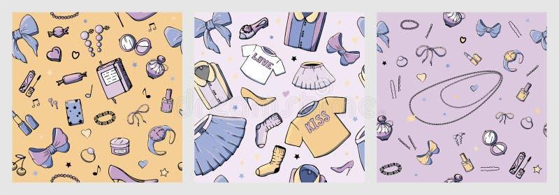 设置与女孩材料的传染媒介无缝的样式 与妇女的衣物,首饰,化妆用品,礼物的时尚例证和 皇族释放例证