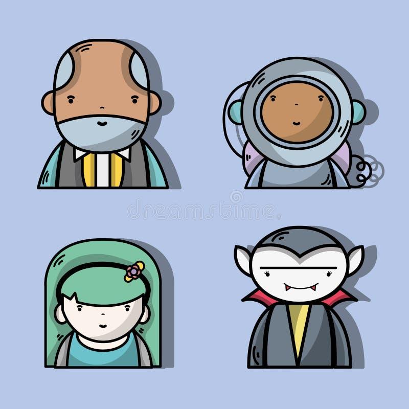 设置与宇航员的与妇女的商人和vampiere 向量例证