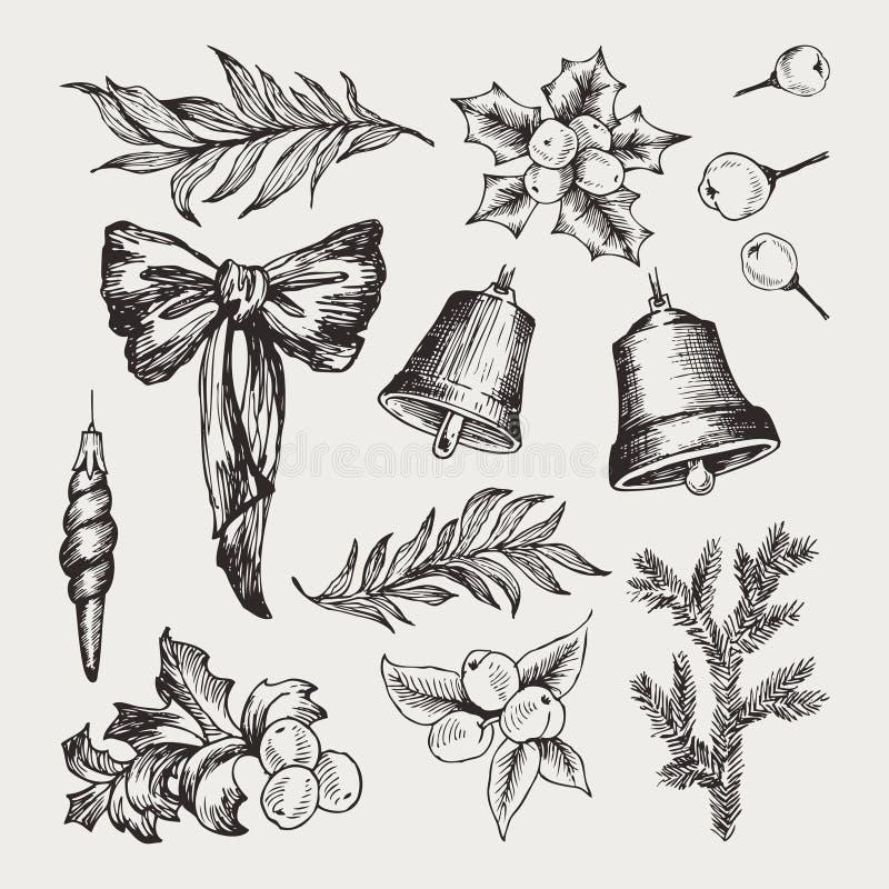 设置与弓的被隔绝的手拉的单色圣诞节元素,丝带,针叶树,云杉,响铃,槲寄生,圣诞节 皇族释放例证