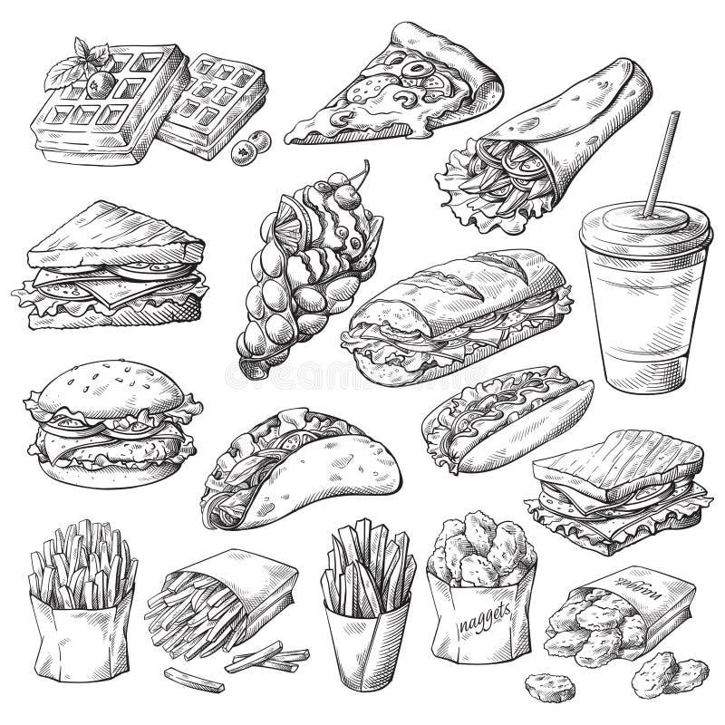 设置与快餐产品 向量例证