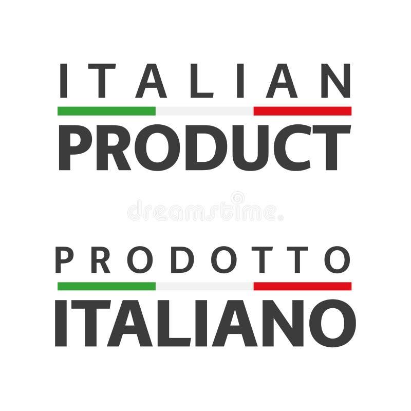 设置与意大利三色的两个意大利传染媒介标志,英国和意大利象意大利产品 库存例证