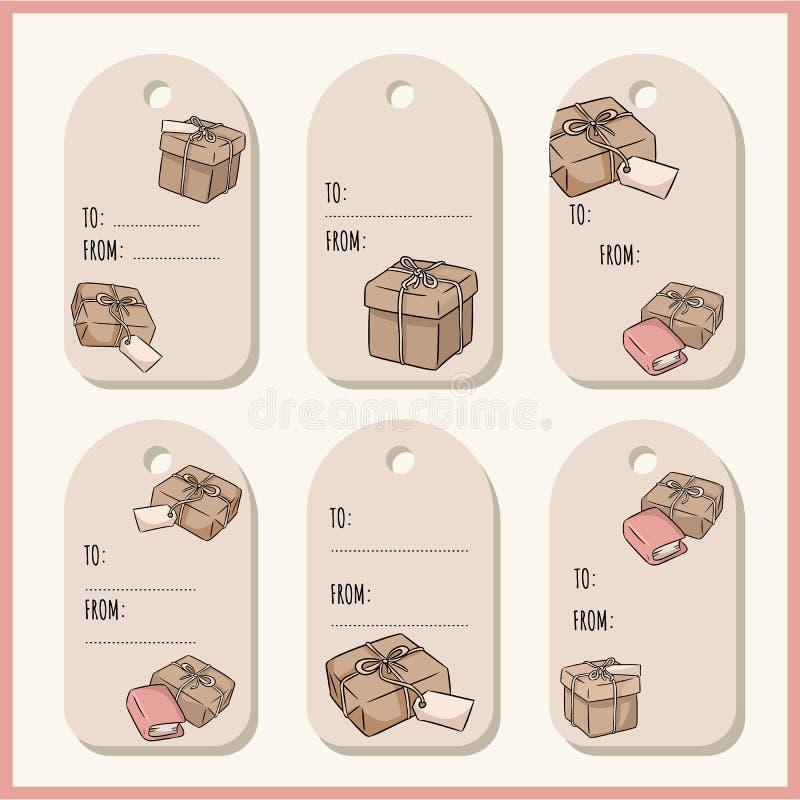 设置与手拉的礼物盒乱画礼物标记 传染媒介标签汇集 皇族释放例证