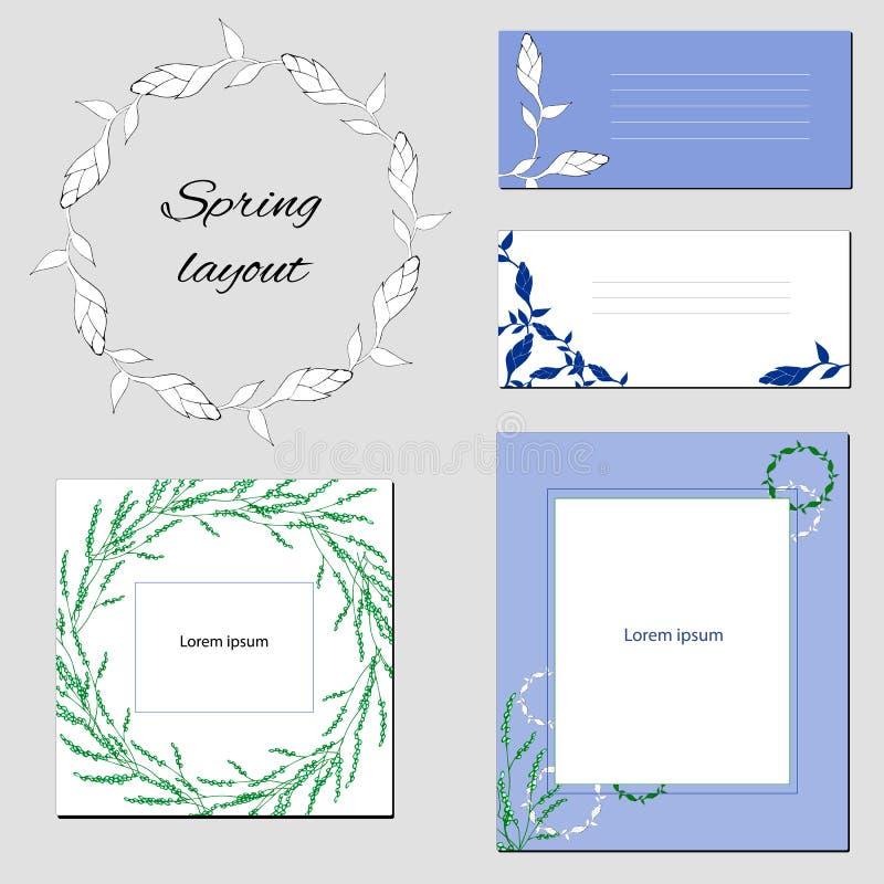 设置与抽象元素的模板与在浅绿色和蓝色口气的花 向量例证