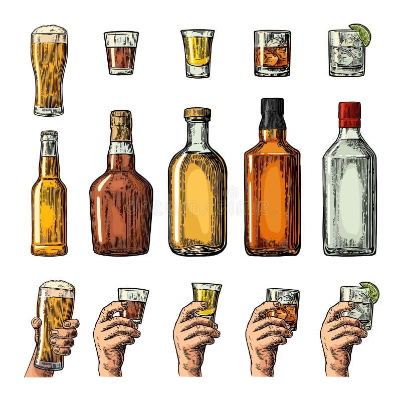 设置与拿着啤酒,杜松子酒,威士忌酒,龙舌兰酒的瓶、玻璃和手的酒精饮料 库存例证