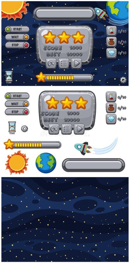 设置与星的比赛背景在夜间 库存例证