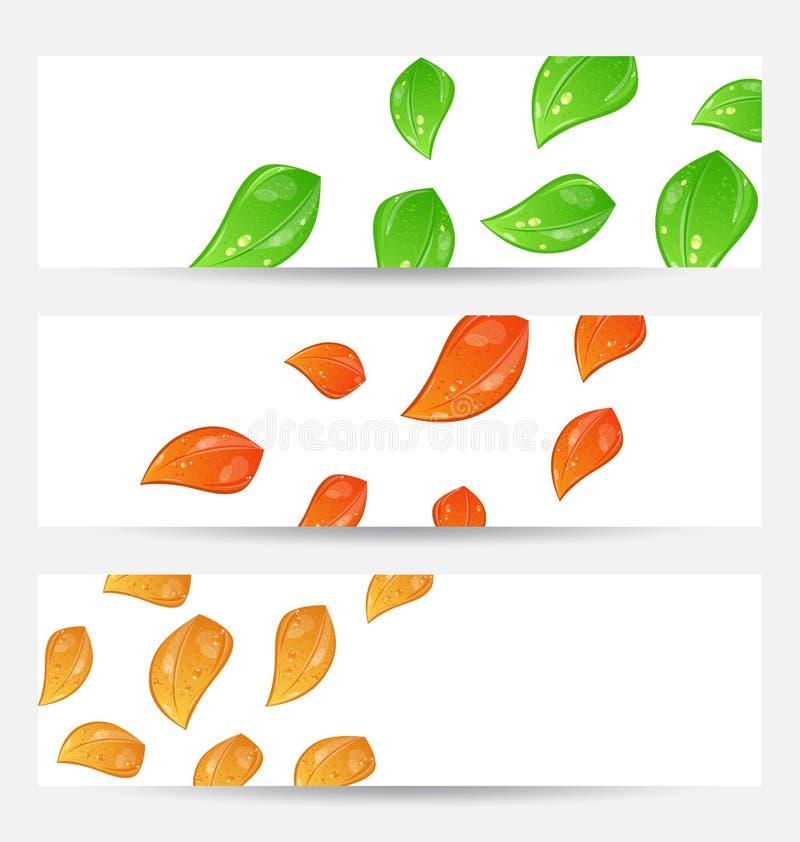 设置与更改的叶子的秋天季节性看板卡 皇族释放例证