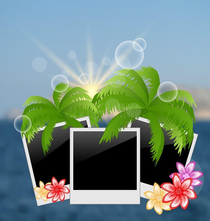 设置与棕榈,花的照片框架,在被弄脏的海景backgro 库存例证