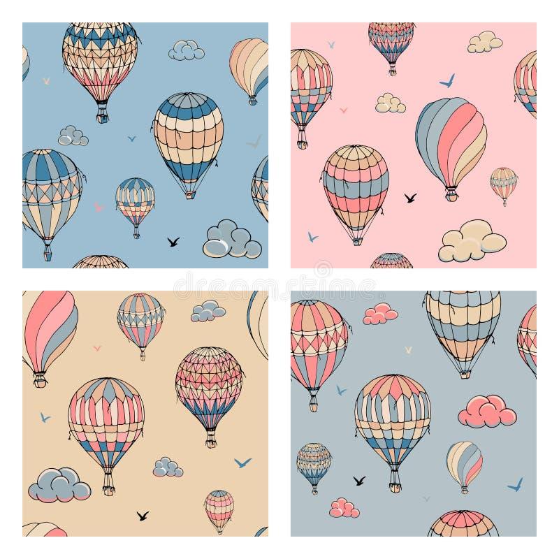设置与气球的无缝的样式在淡色 飞行在的许多不同地色的镶边气球被覆盖 库存例证