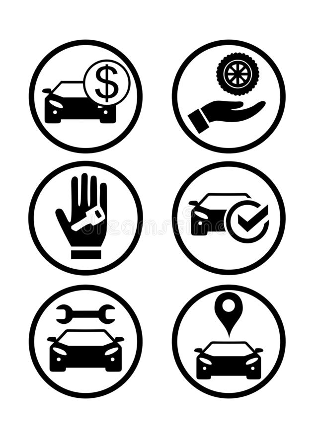 设置与汽车的象 购买,销售,修理 免版税库存图片