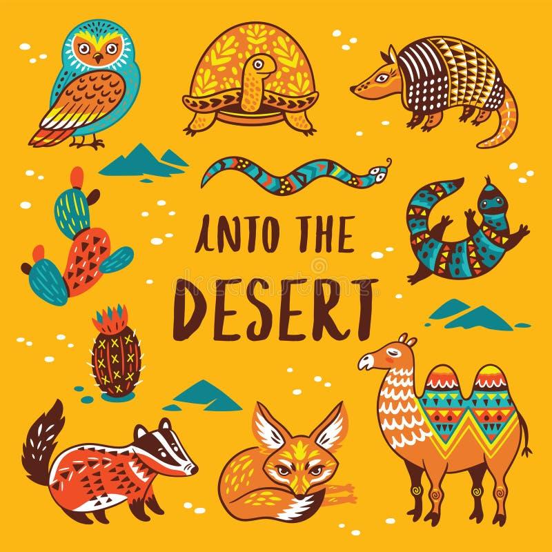 设置与沙漠动画片动物  皇族释放例证