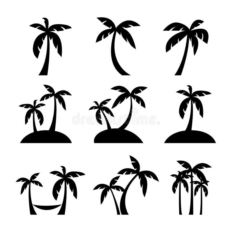 设置与海岛剪影象的椰子或棕榈树 向量例证