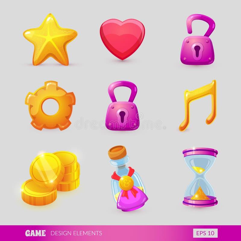 设置与游戏设计元素 向量例证