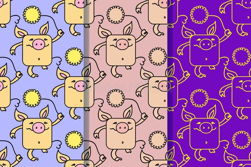 设置与滑稽的猪的三个无缝的样式,2019年的标志在中国日历 与黄色的黄色土质猪 库存例证