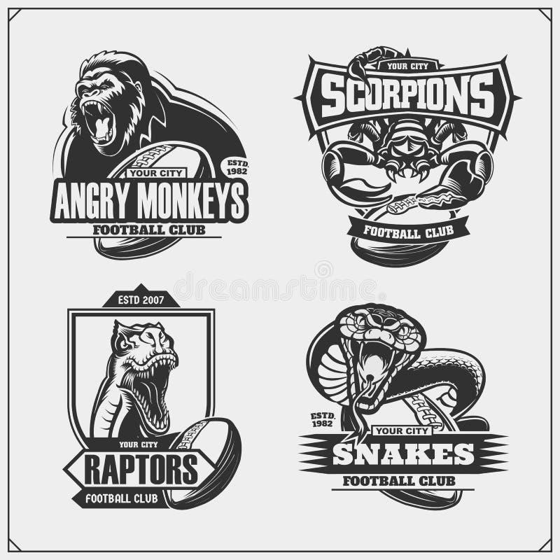 设置与狮子、眼镜蛇、猛禽恐龙和蝎子的橄榄球和足球象征 T恤杉的印刷品设计 向量例证