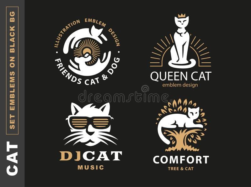 设置与猫的商标例证,象征设计 向量例证