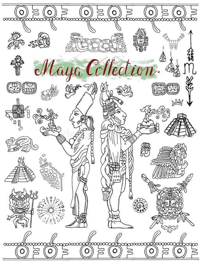 设置与玛雅神秘的标志、象和印地安人民 向量例证