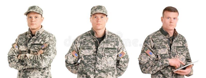 设置与白色背景的男性战士 免版税库存图片