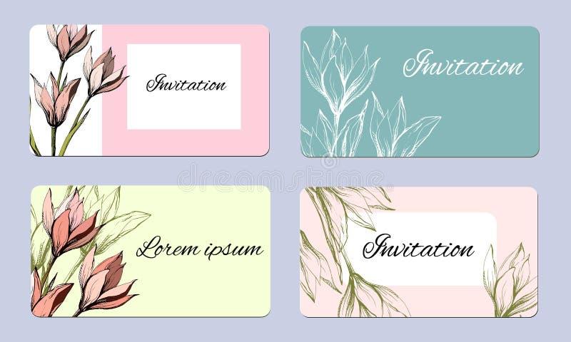 设置与等高花的春天卡片 墨水在葡萄酒样式的柔和的贺卡画的 r 向量例证