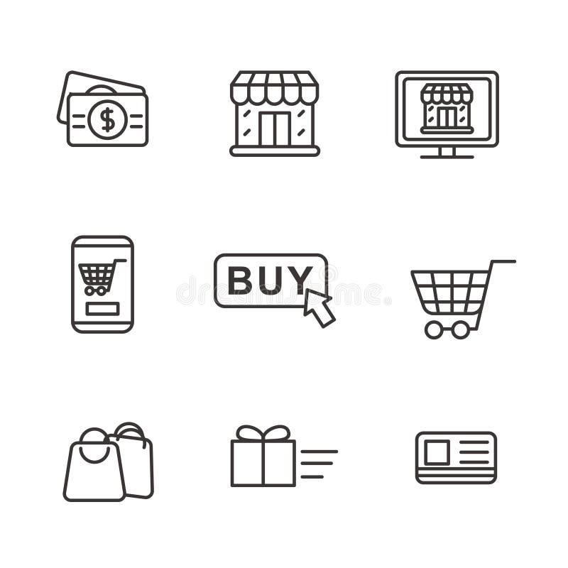 设置与简单的线设计的网络购物相关象 库存例证