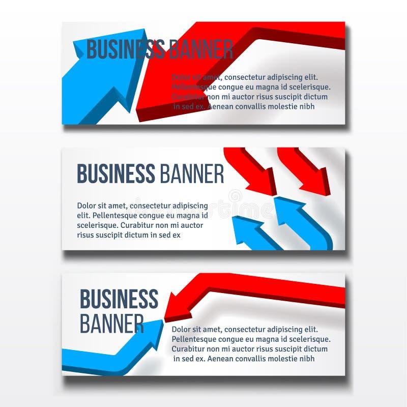 设置与箭头的三副企业横幅 库存例证