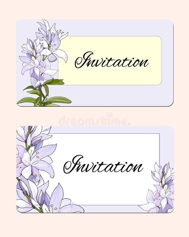 设置与精美花的春天卡片 桃红色和白花的传染媒介例证 柔和的明信片 库存例证