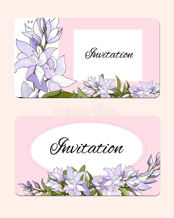 设置与精美花的春天卡片 桃红色和白花的传染媒介例证 柔和的明信片 皇族释放例证