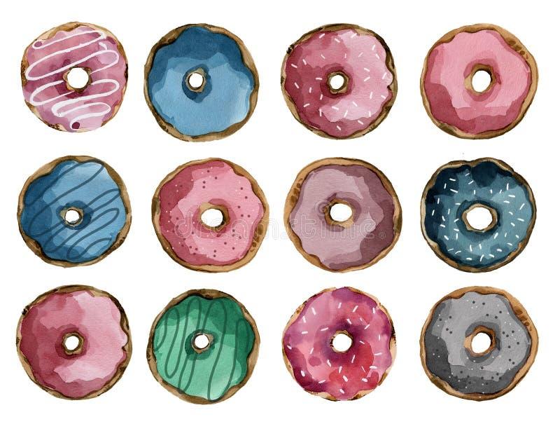 设置与结冰和焦糖灰色桃红色蓝色的多彩多姿的油炸圈饼 库存例证