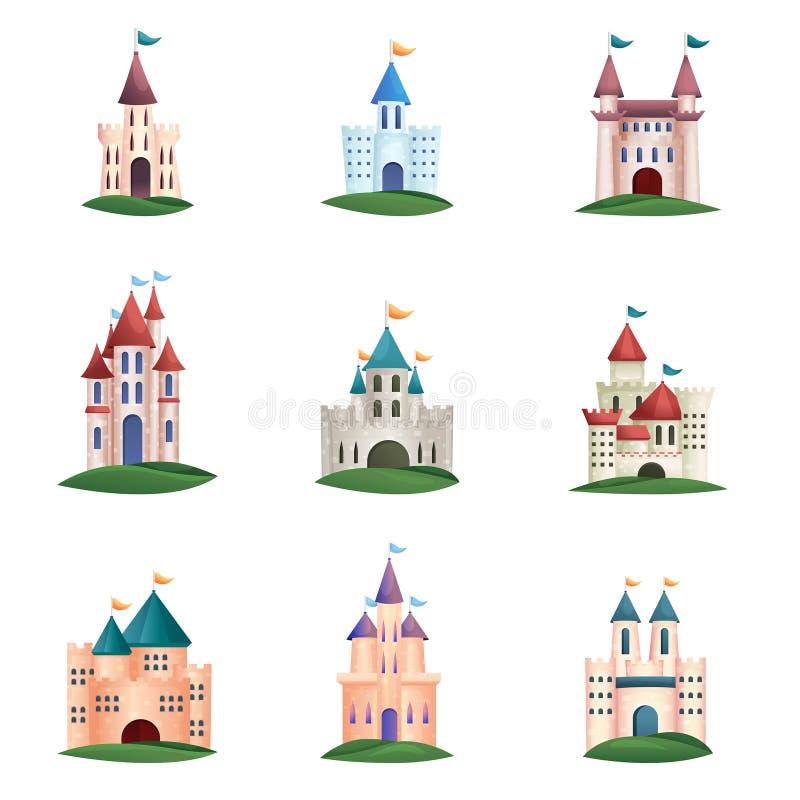 设置与绿草和屋顶的中世纪五颜六色的城堡 向量例证