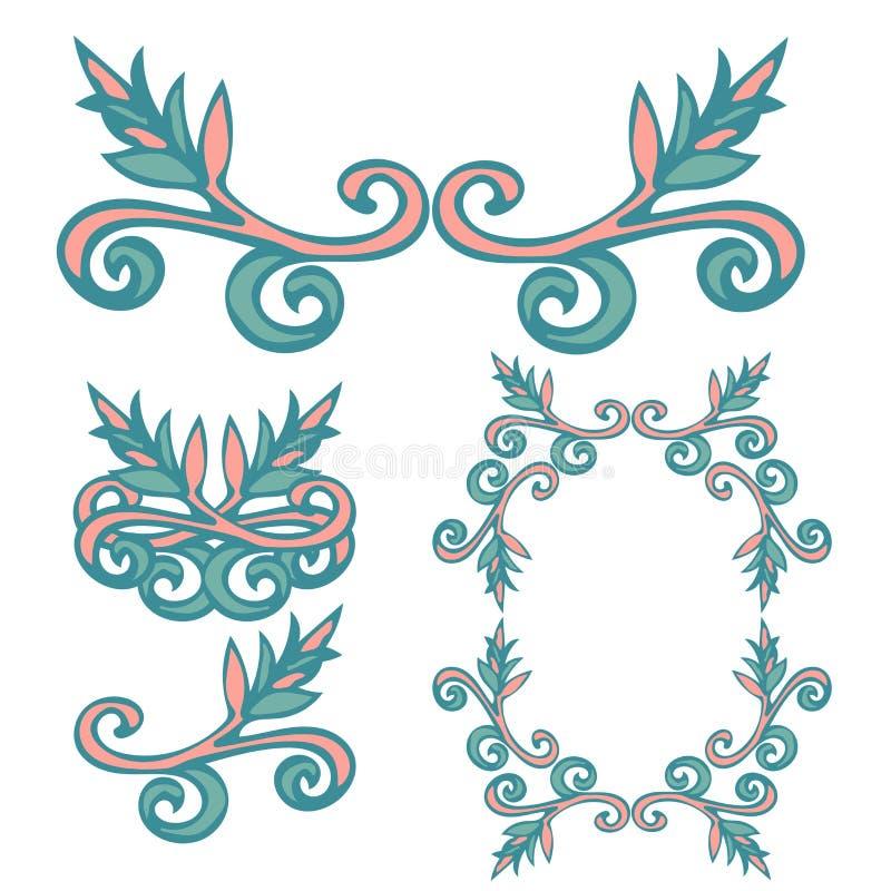 设置与耳朵,领域草的手拉的卷曲乱画花卉设计元素 向量例证