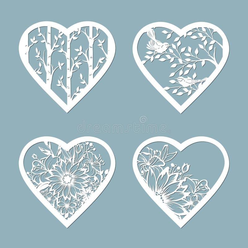 设置与花的钢板蜡纸心脏 室内设计、邀请等等的模板 图象适用于激光切口,绘图员切口 库存例证