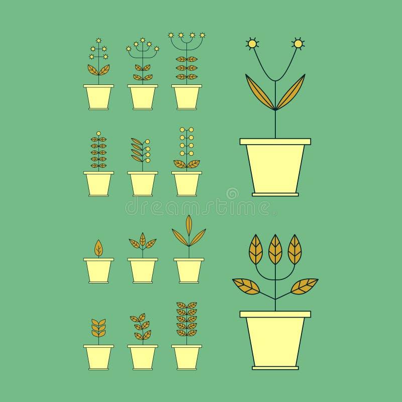 设置与花盆象 自然汇集 植物群元素 向量例证