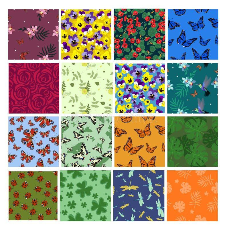 设置与蝴蝶,蜻蜓,瓢虫,花的花无缝的样式 织品的,包装纸传染媒介模板 向量例证