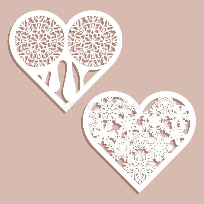 设置与被雕刻的透雕细工样式的钢板蜡纸有花边的心脏 室内设计的模板,布局喜帖,邀请 向量例证