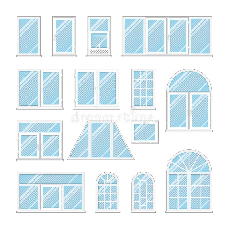设置与透明蓝色玻璃的窗口 向量例证