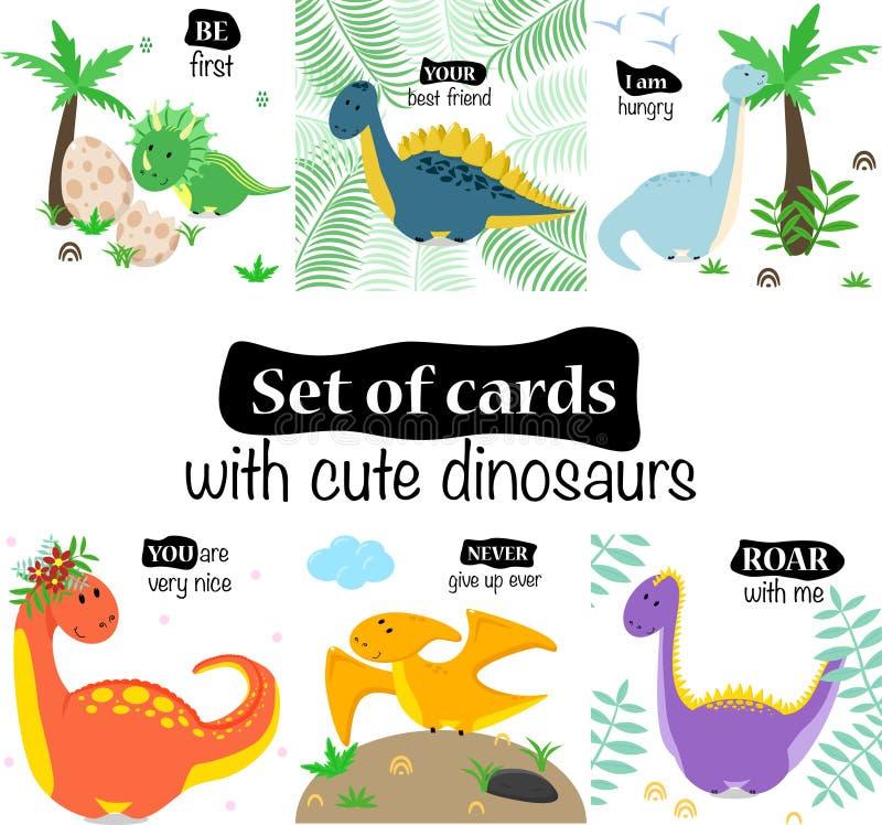 设置与逗人喜爱的恐龙的卡片在白色背景-传染媒介例证,eps 向量例证